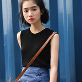 清新顯瘦針織衫女2018春季新款無袖打底上衣學生無袖T恤基礎背心【618好康又一發】