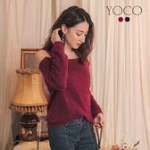 東京著衣【YOCO】時髦韓妞露肩毛毛海針織長袖上衣-S.M.L(172475)