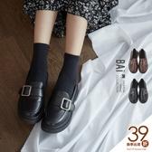樂福鞋 方扣環一字帶霧面皮革小皮鞋36-39號-BAi白媽媽【199025】