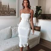 蛋糕裙洋裝 2020歐美春季新款亞馬遜ebay純色性感吊帶抽褶 蛋糕連衣裙長裙