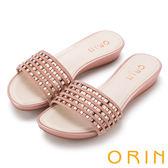 限時特賣-ORIN 魅力新時尚 幾何水晶簍空低跟拖鞋-粉紅