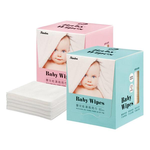 小獅王辛巴 嬰兒乾濕兩用巾80抽-藍色/粉色【德芳保健藥妝】