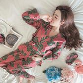 和服睡衣日式和服公主風睡衣女春秋季純棉長袖甜美可愛清新冬季家居服套裝  朵拉朵衣櫥