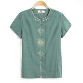 老年媽媽短袖t恤兩件套中老年人女裝夏60-7080歲衣服奶奶棉麻套裝 幸福第一站2
