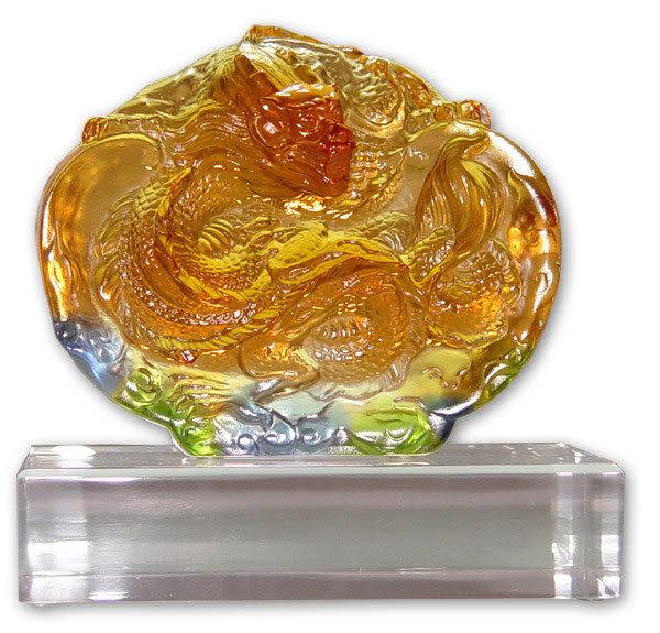 居家開運水晶琉璃-蟠龍躍天含座◆獎牌 擺飾 ◆附精美包裝◆免運費送到家