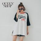 Queen Shop【01084944】美式復古棒球拼接袖長版上衣*現+預*