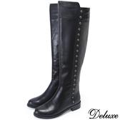 【Deluxe】全真皮摩登都會流行帥氣排釦長筒靴(黑)