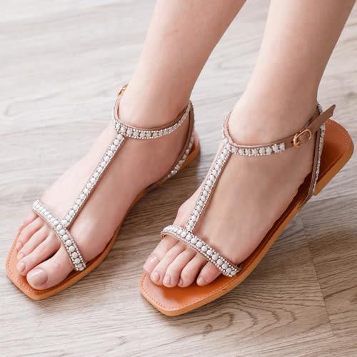 涼鞋 D+AF 夏日女神.水鑽寶石細帶T字涼鞋*棕杏