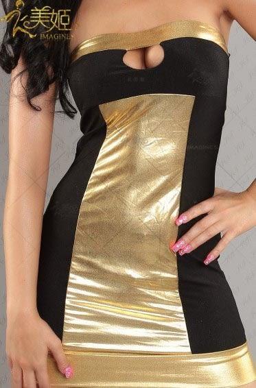 衣美姬♥歐美 暢銷熱賣款 平口仿皮拼接修身洋裝 開胸 火辣性感情趣連身裙