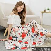 【天母嚴選】繽紛花朵附綁帶傘襬雪紡中長裙(共三色)
