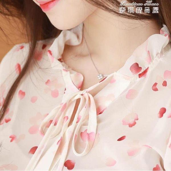 春裝很仙的上衣洋氣小衫雪紡長袖襯衫甜美超仙女范碎花襯衣女 麥琪精品屋