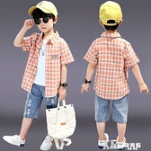男童襯衫夏季時尚潮衣2021新款韓版兒童格子襯衣短袖中大童夏裝潮