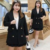 (現貨+預購 FUWAFUWA)- 中大尺碼OL職場雙釦西裝外套
