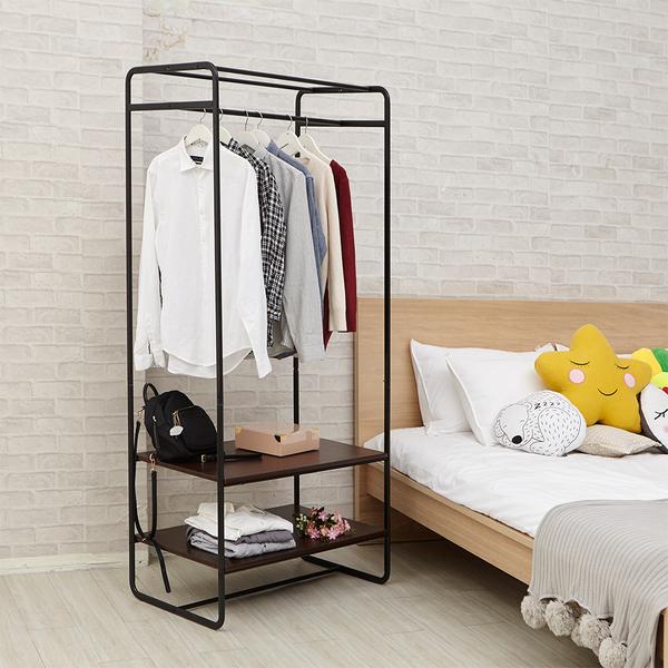 【H&R安室家】工業風雙層板大型衣架-LS172A