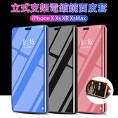 鏡面皮套 休眠 iPhone X XR Xs Max 6 6s 7 8 plus 三星 S10 + plus S10e 電鍍 支架 手機皮套