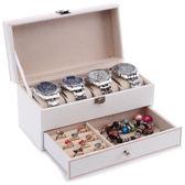 雙層碳纖維旅行 便攜珠寶飾品戒指項鏈收納整理首飾盒 手錶收納盒