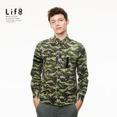 Casual 迷彩織帶設計 長袖襯衫- 迷彩色【03880】