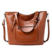 手提包 大容量PU包大包廣州水桶歐美簡約單肩斜挎包手提包