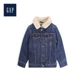 Gap男幼童人造羊毛絨襯裏長袖按扣牛仔外套488971-水洗靛青色