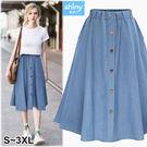 【V2873】shiny藍格子-甜美時尚.前排釦鬆緊腰A字大擺牛仔裙