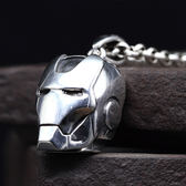《 QBOX 》FASHION 飾品【SC19N127】精緻個性鋼鐵人面具頭盔S925純銀項鍊/泰銀墬子