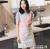 新款女式圍裙 韓版時尚廚房咖啡店奶茶店飯店炒菜圍裙布藝包郵 魔方數碼館