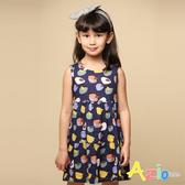 Azio 女童 洋裝 滿版幾何造型小鳥接片無袖洋裝(藍) Azio Kids 美國派 童裝