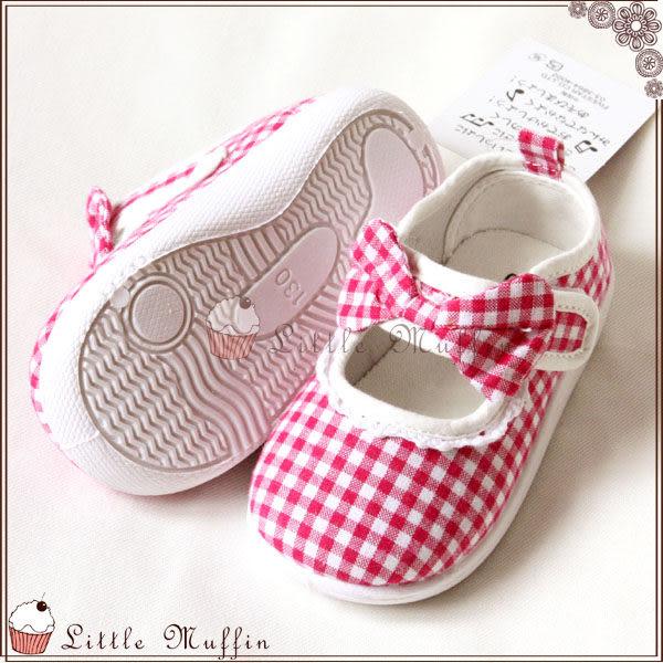桃紅格紋蝴蝶結娃娃鞋/帆布鞋/童鞋 膠底防滑外出鞋