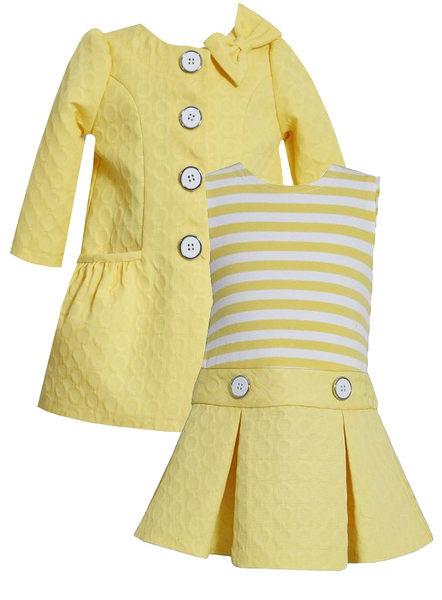 2件組外套+連身裙洋裝套裝: 鵝黃: BJ-1485