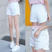 白色牛仔短褲女夏高腰a字破洞寬鬆韓版學生夏天毛邊百搭闊腿熱褲梗豆物語
