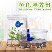 魚缸 創意塑料小型迷妳生態鬥魚缸巴西小烏龜缸帶曬台有過濾造景免換水 igo卡洛琳