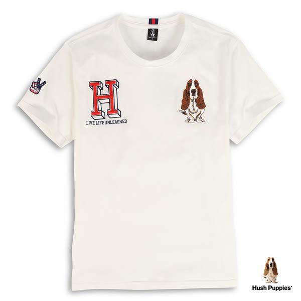 Hush Puppies  男裝字母H刺繡狗棉質短袖T恤