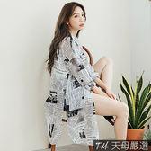 【天母嚴選】報紙圖印側開衩寬鬆長版襯衫/罩衫