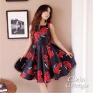 無袖紅玫瑰印花蝴蝶結腰帶微摺大裙擺宮廷復古下午茶雞尾酒會晚宴婚宴聖誕派對洋裝