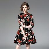 洋裝-中袖立領盤扣印花修身女連身裙2色73of167【巴黎精品】