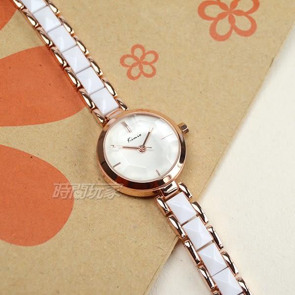 Kimio金米歐 簡約氣質女錶 白陶瓷x玫瑰金 立體切割鏡面 防水手錶 學生錶 K6120玫白