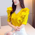 出清288 韓國風時尚V領荷葉邊襯衫雪紡...