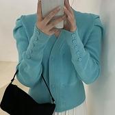 V領上衣女 V領針織衫女外穿寬鬆秋冬新款長袖開衫上衣修身洋氣短款毛衣外套 潮流衣舍