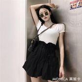 港味時尚網紅兩件套裝女顯瘦短袖T恤 寬鬆花苞短褲潮 莫妮卡小屋