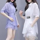 套裝單/大碼女裝新款時尚顯瘦減齡休閒套裝洋氣韓版短褲兩件套潮 快速出貨