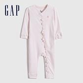 Gap嬰兒 純棉荷葉邊長袖包屁衣 679418-粉色條紋