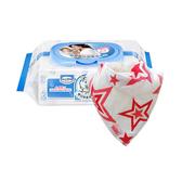 【奇買親子購物網】貝恩Baan NEW嬰兒保養柔濕巾80抽24入+Nuby可愛造型領巾*1