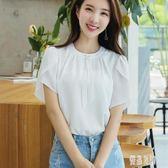 夏裝新款雪紡襯衫女裝純色甜美寬鬆荷葉袖簡約修身上衣服女CY1559【優品良鋪】