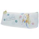 KAMIO 皮革小尺寸輕便筆袋 化妝包 收納包 迪士尼 愛麗絲 粉彩 花朵 藍白