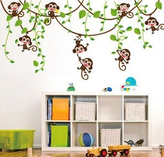 壁貼 綠葉猴子 移除PVC透明膜牆貼紙家裝貼 無痕壁貼 創意壁貼 牆貼紙【A3091】