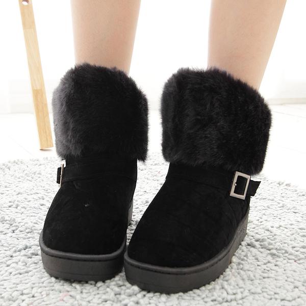 短靴 絨毛內鋪毛皮扣短筒雪靴 香榭