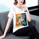 女士上衣2097短袖T恤女夏新款印花白色拼接半袖短款上衣DC250D快時尚