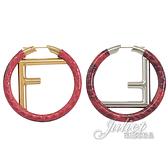 茱麗葉精品【全新現貨】FENDI 8AG797 圓形F LOGO蛇皮不對襯個性耳環.紅