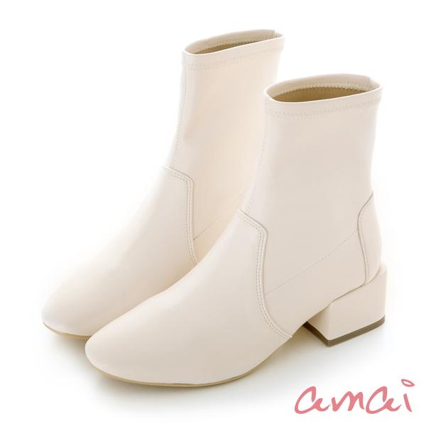 amai 《漫步巴黎》小方頭襪靴 白