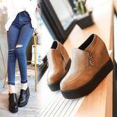 厚底皮鞋 秋季新款女鞋低筒鞋時尚圓頭中跟內增高松糕底休閒側拉鍊皮鞋 伊蘿鞋包專賣店